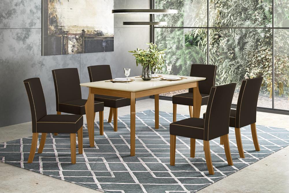 Jogo de Mesa Ghala e 6 Cadeiras Maris Nature/Marrom - FdECOR