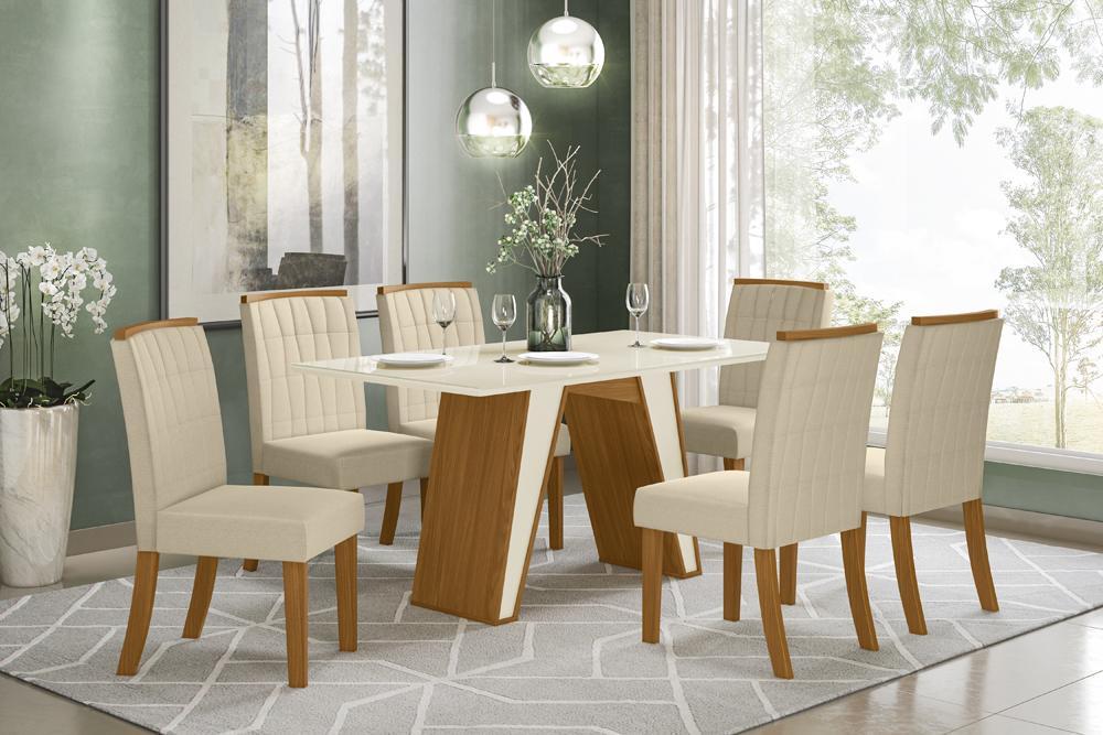 Jogo de Mesa Kenya e 6 Cadeiras Tauá Nature/Linho - FdECOR