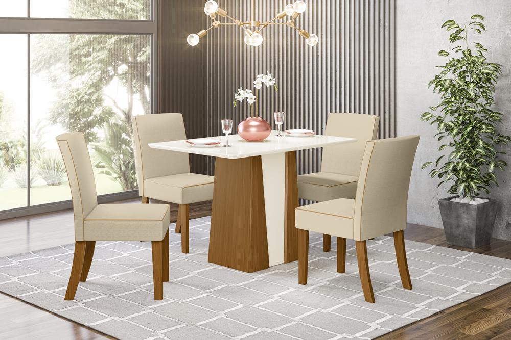 Jogo de Mesa Orus e 4 Cadeiras Maris Nature/Linho - FdECOR