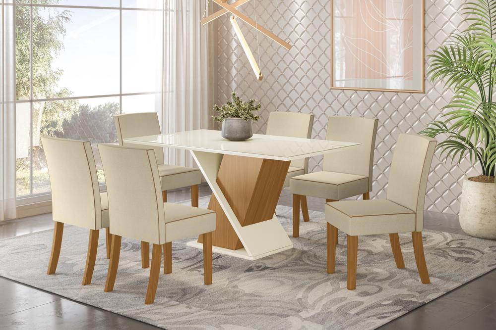 Jogo de Mesa Solus e 6 Cadeiras Maris Nature/Linho - FdECOR