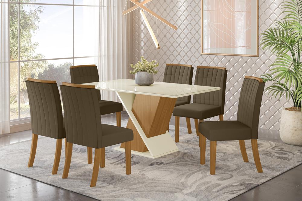 Jogo de Mesa Solus e 6 Cadeiras Tauá Nature/Bege - FdECOR