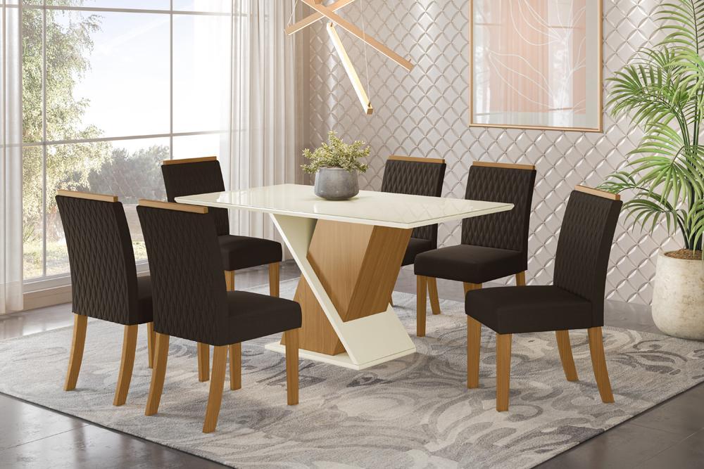 Jogo de Mesa Solus e 6 Cadeiras Vega Nature/Marrom - FdECOR