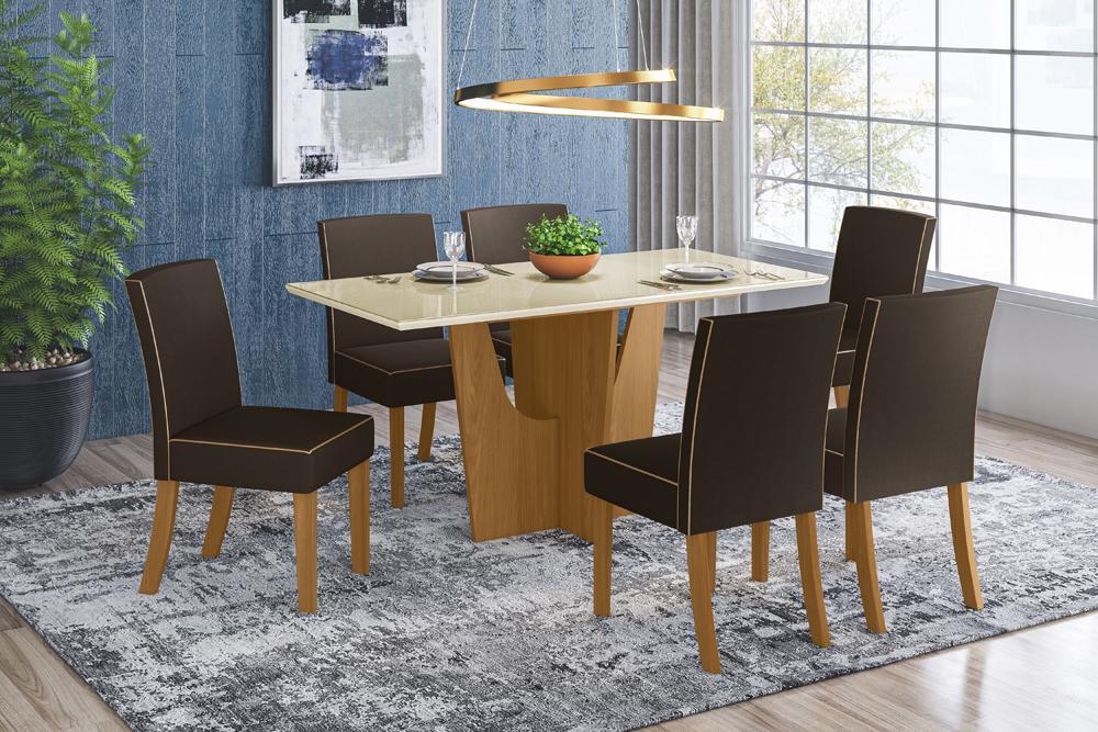Jogo de Mesa Vértice 1600 e 6 Cadeiras Maris Nature/Marrom - FdECOR