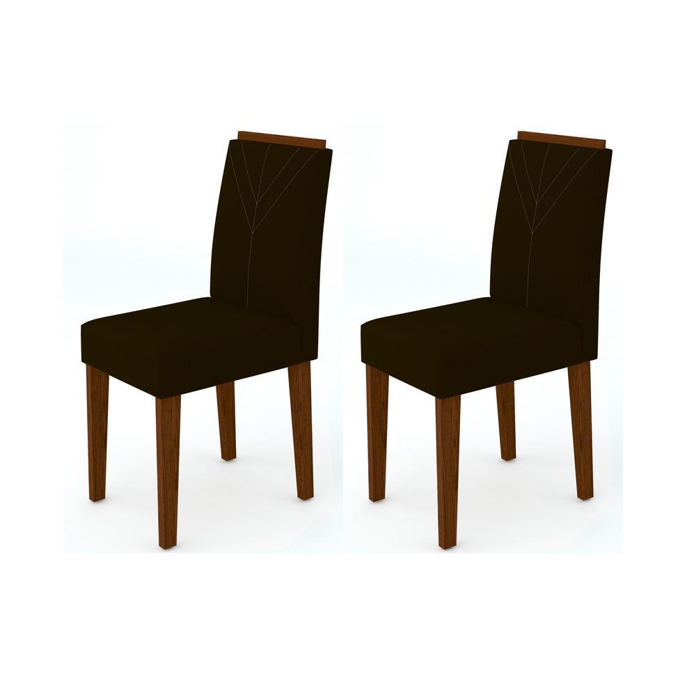 Kit 2 Cadeiras Amanda para Sala de Jantar Alamo/Veludo Marrom Escuro - New Ceval