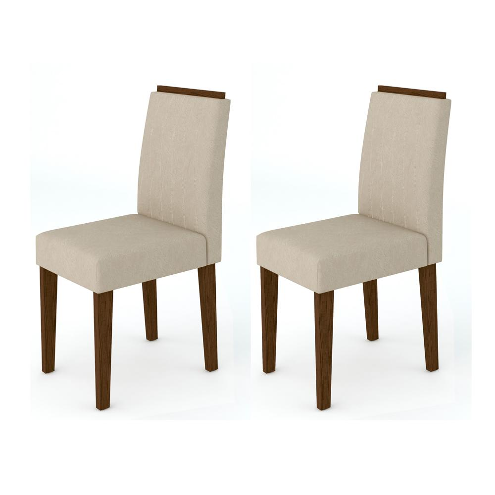 Kit 2 Cadeiras Ana para Sala de Jantar Alamo/Animalle Bege - New Ceval