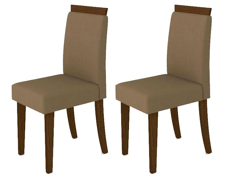 Kit 2 Cadeiras Paloma para Sala de Jantar Castanho/Veludo Marrom Rose - New Ceval