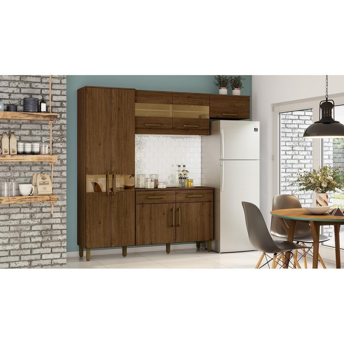 Kit Cozinha Compacta 07 Portas 02 Gavetas Castanho HP - Briz
