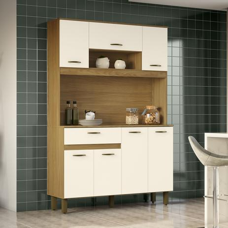 Kit Cozinha Compacta 07 Portas Nature/Off White - Briz