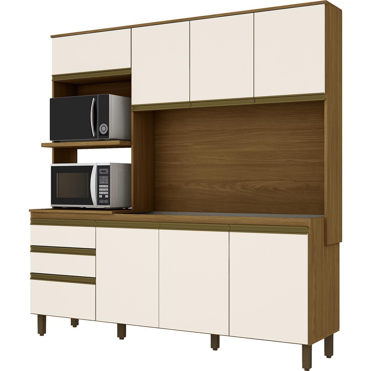 Kit Cozinha Compacta 08 Pts 02 Gavetas Nature/Off White - Briz
