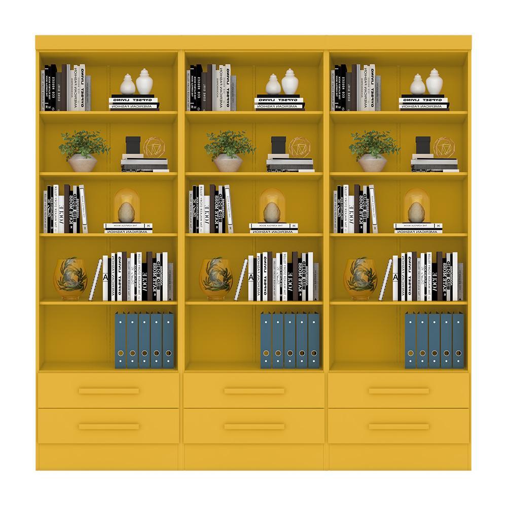 Livreiro Multiuso com 2 Gavetas Amarelo Kit com 3 - FdECOR