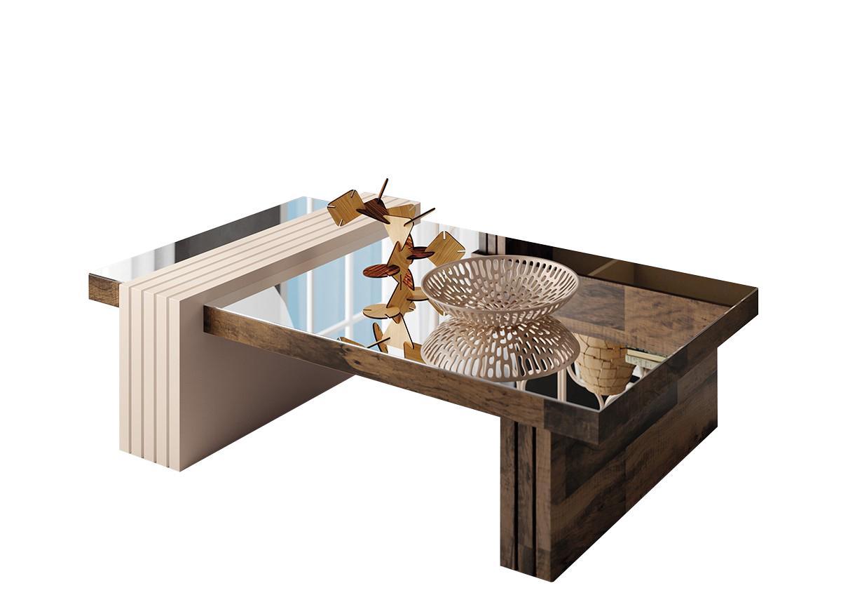 Mesa de Centro Luna com Espelho Deck / Off White - HB Móveis