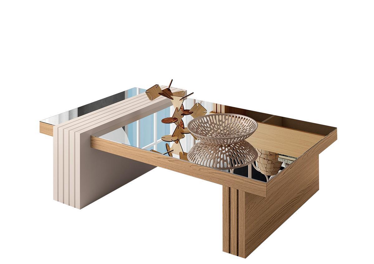 Mesa de Centro Luna com Espelho Freijó / Off White - HB Móveis