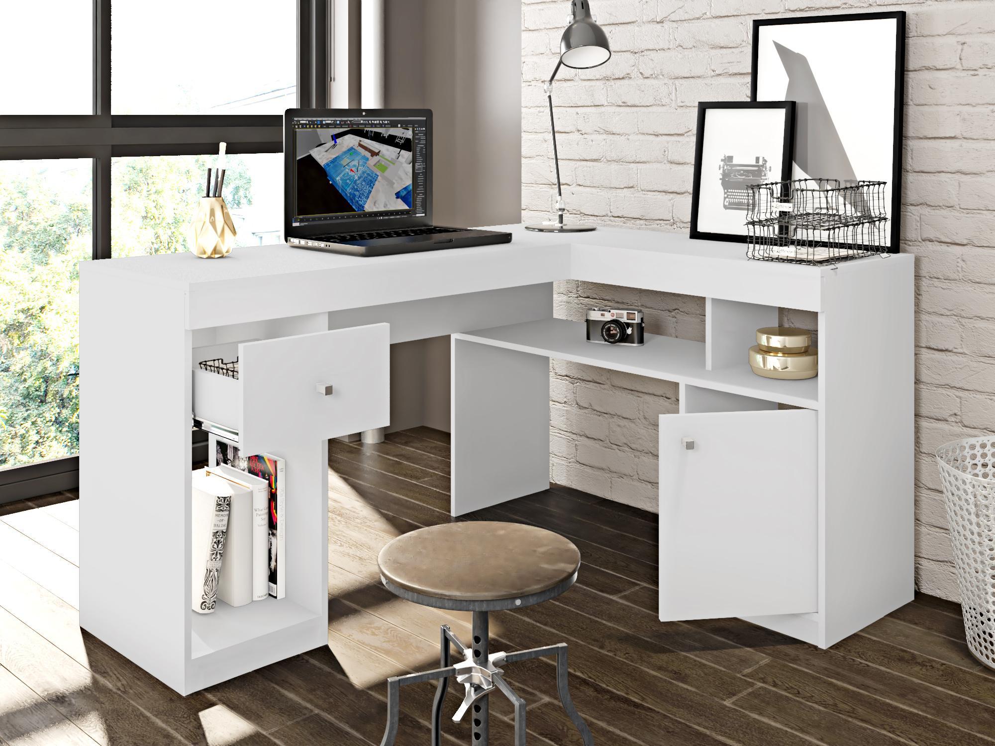 Mesa de computador Nilo Branco - Caemmun