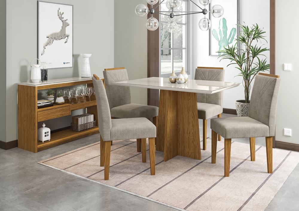 Mesa de Jantar Ana 1,20m com 4 cadeiras Amanda Ypê/OffWhite/Animalle Marrom Claro - FdECOR