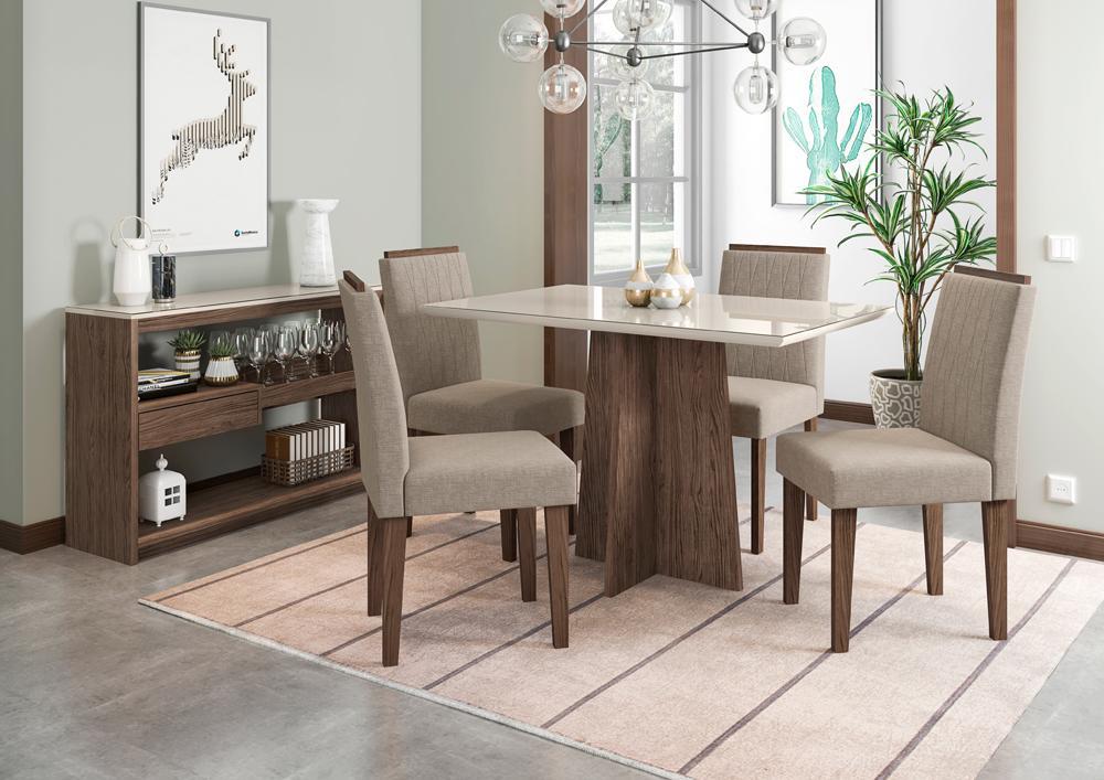 Mesa de Jantar Ana 1,20m com 4 cadeiras Ana Castanho/OffWhite/Linho Marrom Claro  - FdECOR