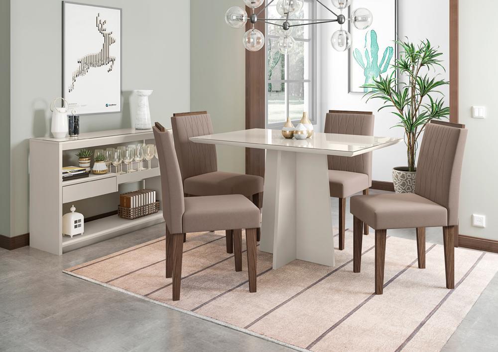 Mesa de Jantar Ana 1,20m com 4 cadeiras Ana OffWhite/Castanho/Marrom Rose - FdECOR