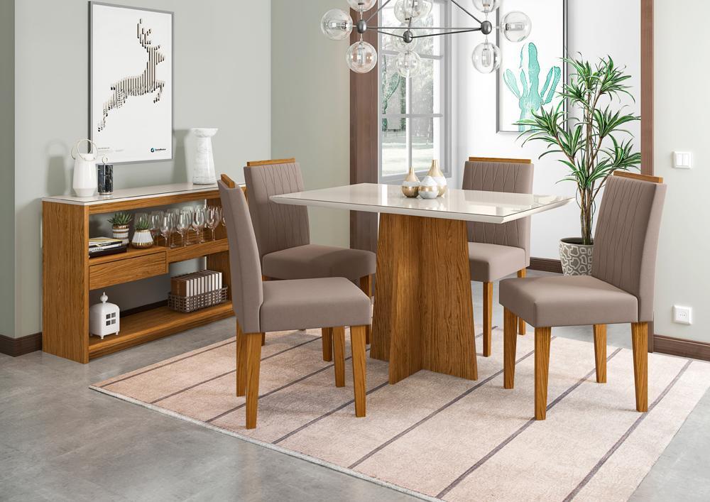Mesa de Jantar Ana 1,20m com 4 cadeiras Ana Ypê/OffWhite/Marrom Rose - FdECOR
