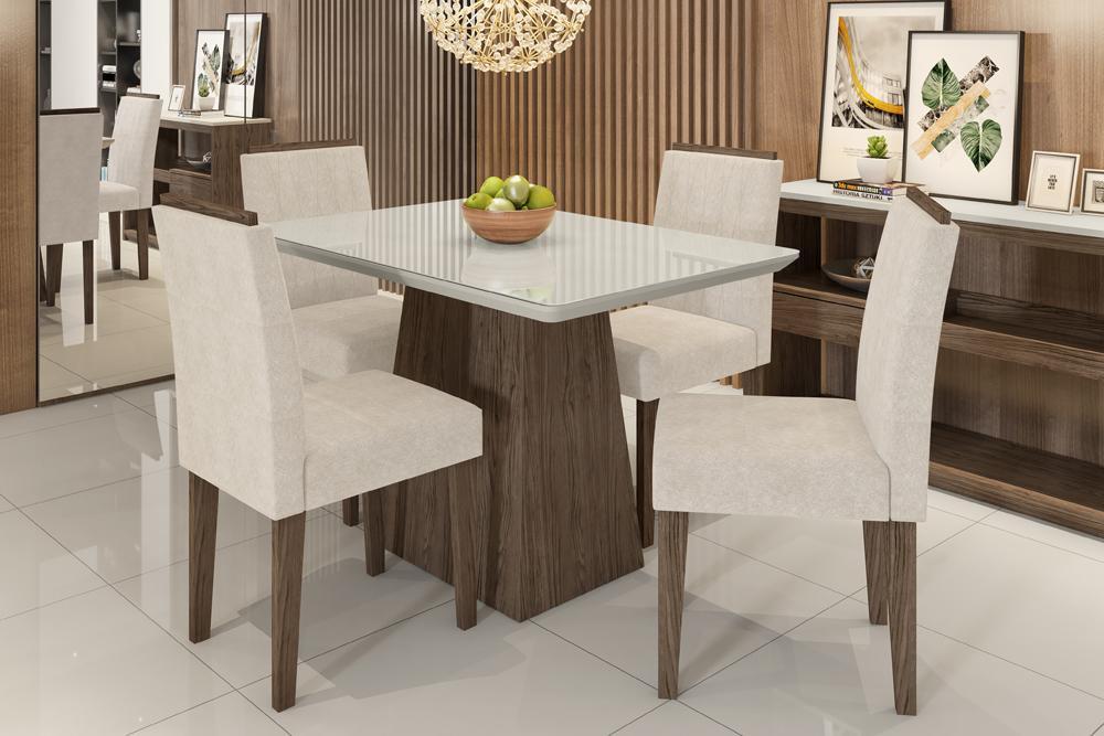 Mesa de Jantar Bárbara 1,20m com 4 cadeiras Ana Castanho/OffWhite/Animalle Bege - FdECOR