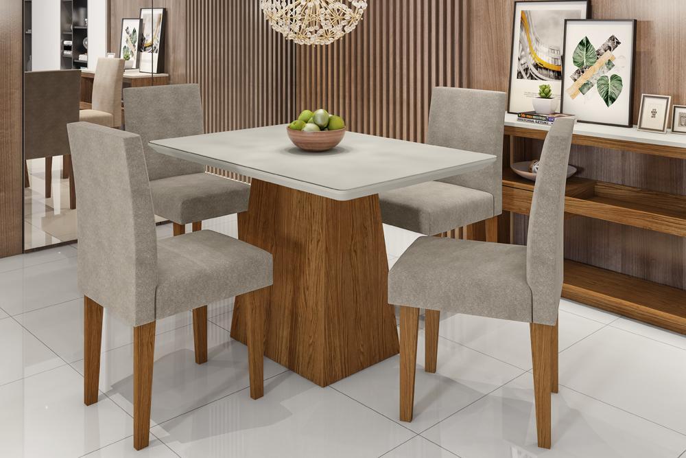 Mesa de Jantar Bárbara 1,20m com 4 cadeiras Giovana Ypê/OffWhite/Animalle Marrom Claro - FdECOR