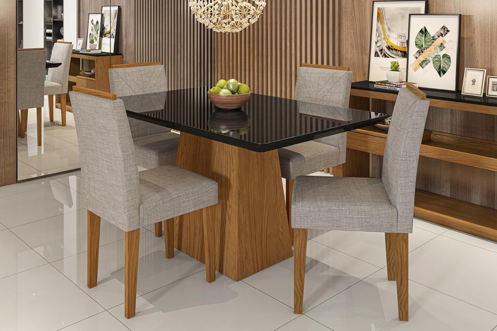 Mesa de Jantar Bárbara 1,35m com 4 cadeiras Amanda Ypê/Preto/Linho Marrom Claro  - FdECOR
