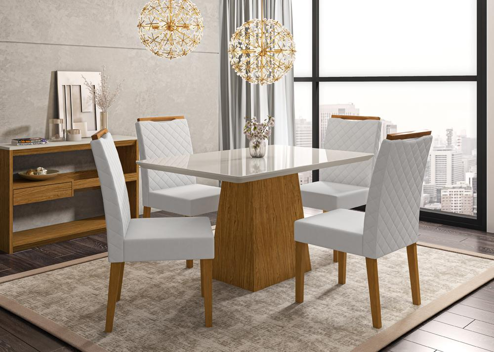 Mesa de Jantar Bárbara 1,35m com 4 cadeiras Munique Ypê/OffWhite/Bege Claro - FdECOR