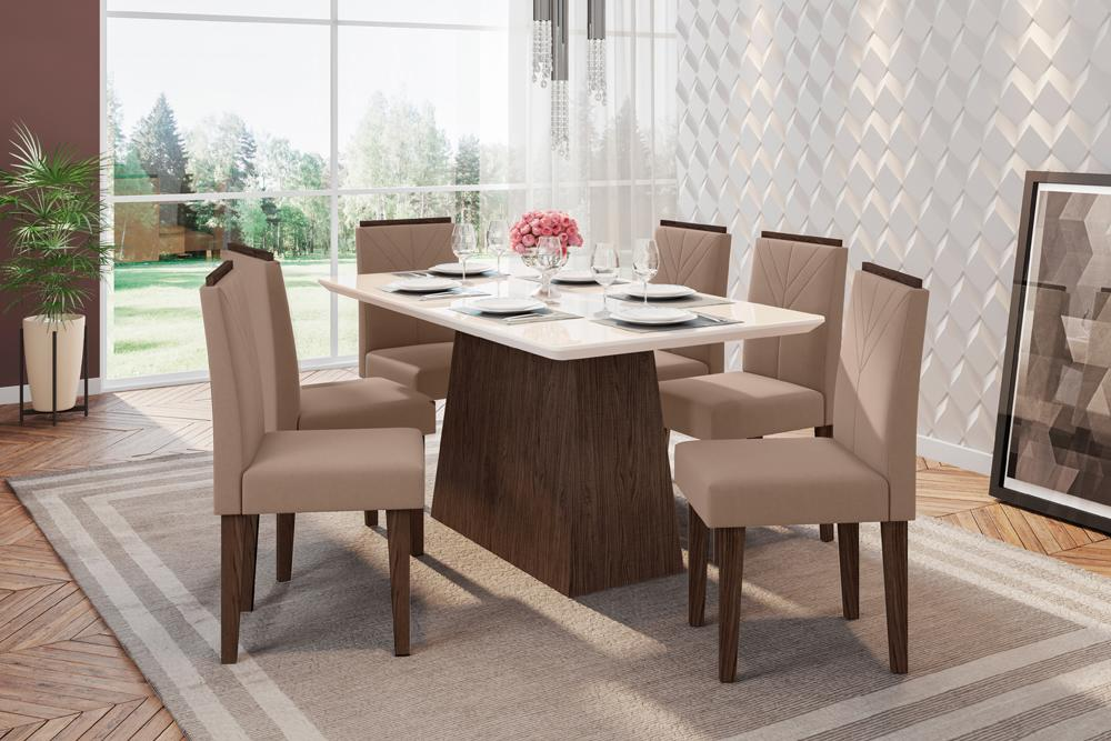 Mesa de Jantar Bárbara 1,60m com 6 cadeiras Amanda Castanho/OffWhite/Marrom Rose - FdECOR