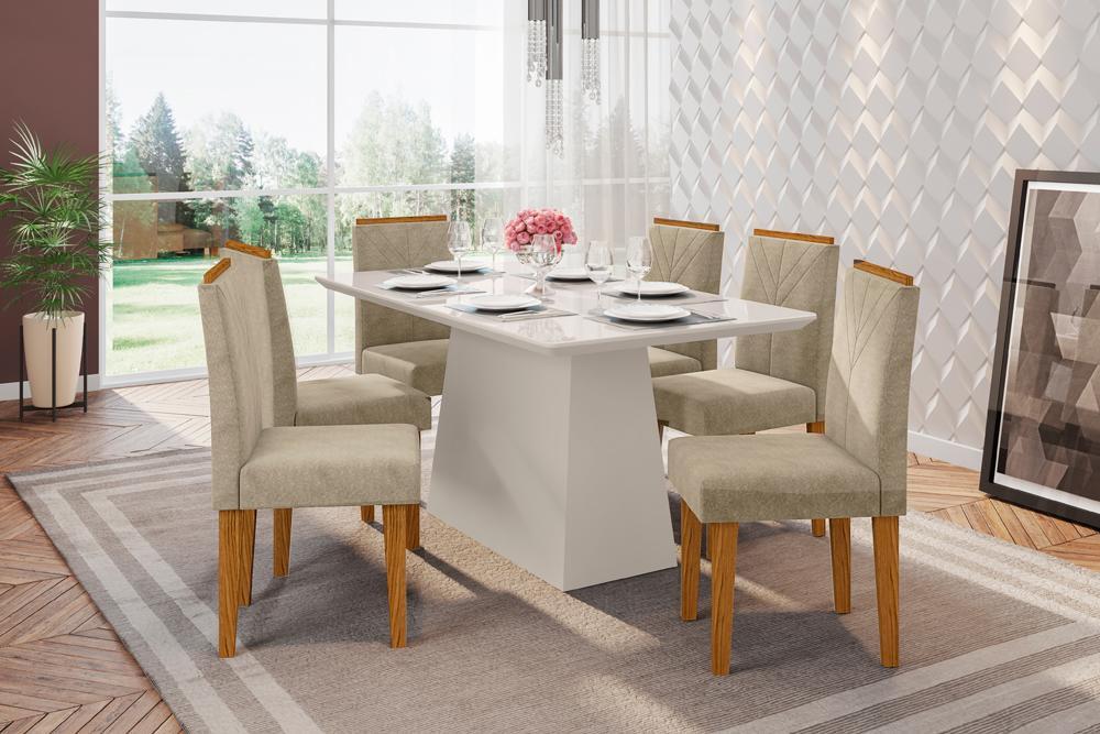 Mesa de Jantar Bárbara 1,60m com 6 cadeiras Amanda OffWhite/Ypê/Animalle Marrom Claro - FdECOR