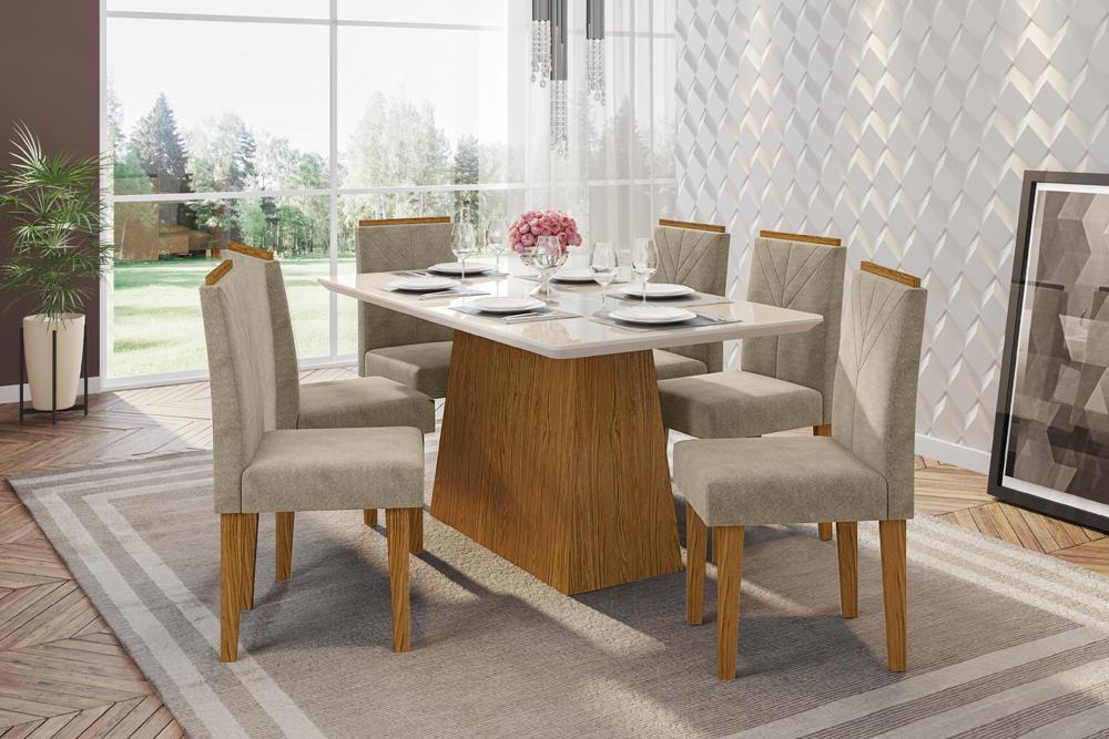Mesa de Jantar Bárbara 1,60m com 6 cadeiras Amanda Ypê/OffWhite/Animalle Marrom Claro - FdECOR