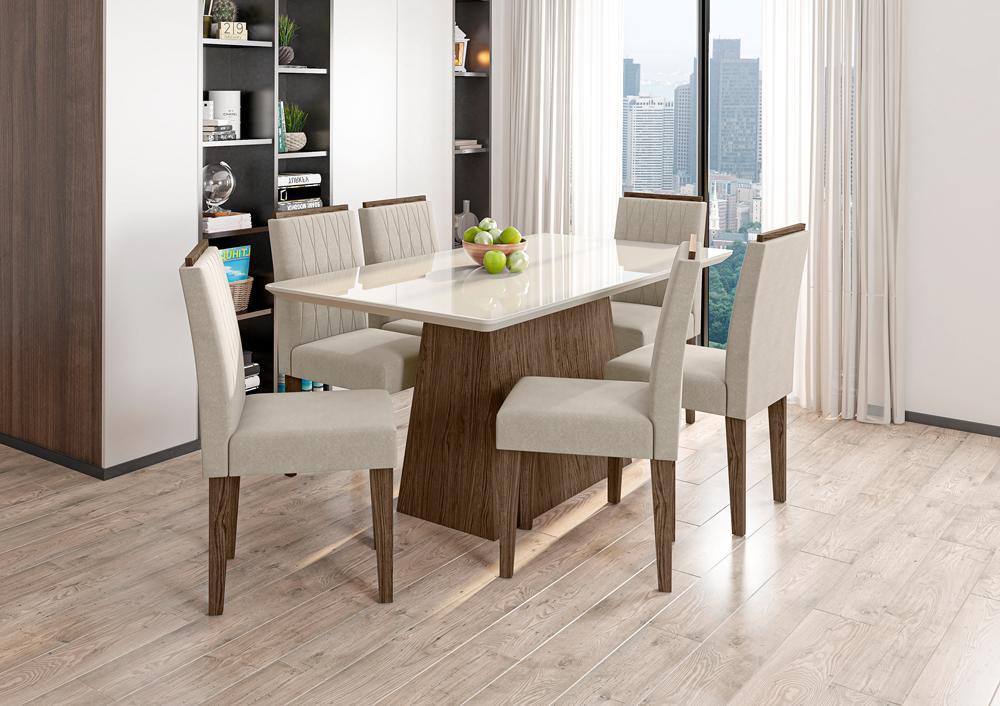 Mesa de Jantar Bárbara 1,60m com 6 cadeiras Ana Castanho/OffWhite/Animalle Bege - FdECOR