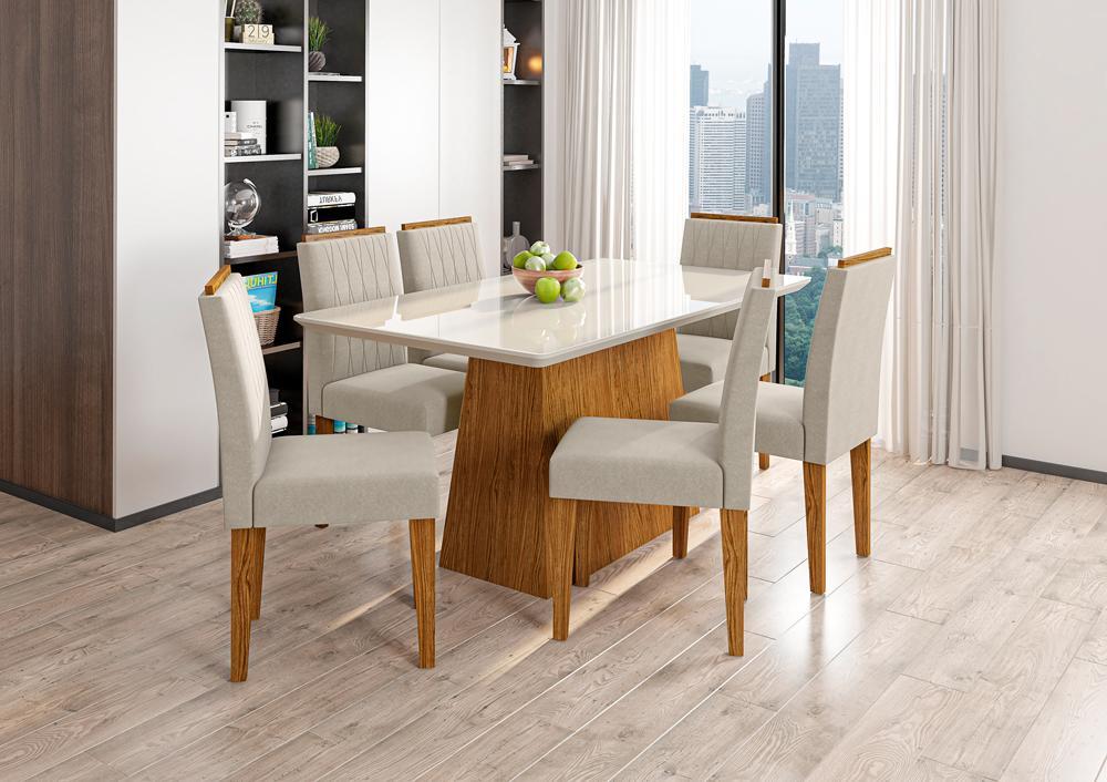 Mesa de Jantar Bárbara 1,60m com 6 cadeiras Ana Ypê/OffWhite/Animalle Bege - FdECOR