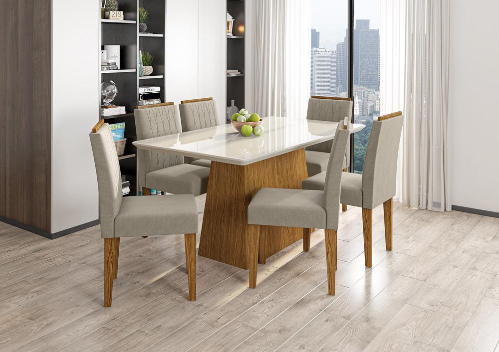 Mesa de Jantar Bárbara 1,60m com 6 cadeiras Ana Ypê/OffWhite/Animalle Marrom Claro - FdECOR