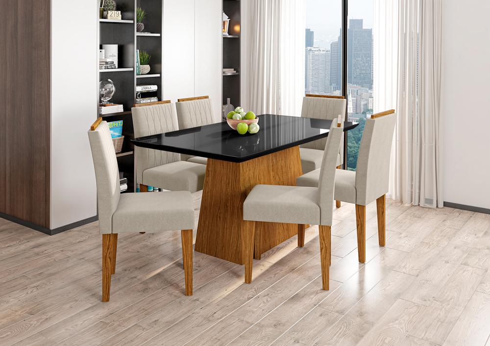 Mesa de Jantar Bárbara 1,60m com 6 cadeiras Ana Ypê/Preto/Animalle Bege - FdECOR