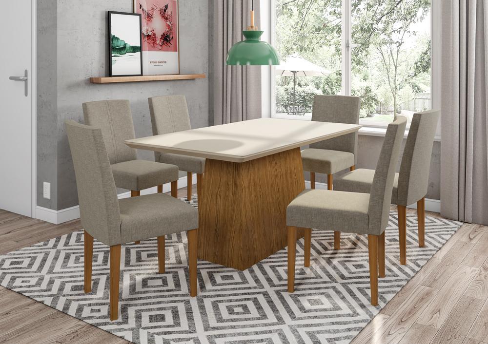 Mesa de Jantar Bárbara 1,60m com 6 cadeiras Heloise Ypê/OffWhite/Linho Marrom Claro  - FdECOR