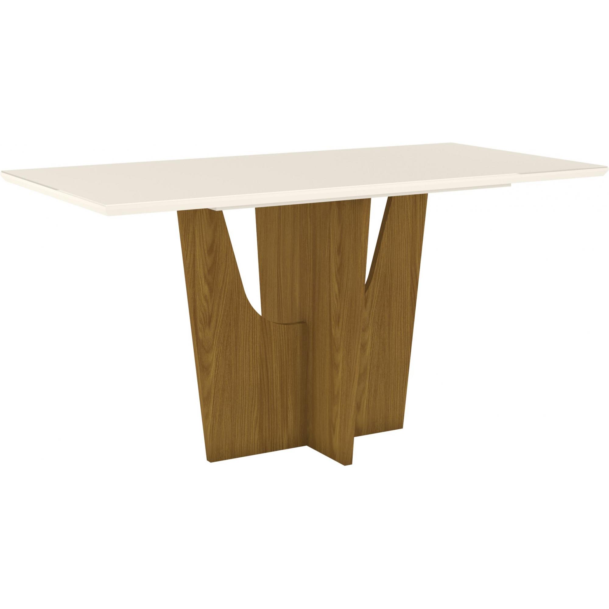 Mesa de Jantar com Tampo de Vidro Vértice 1600mm Nature/Off White - Henn
