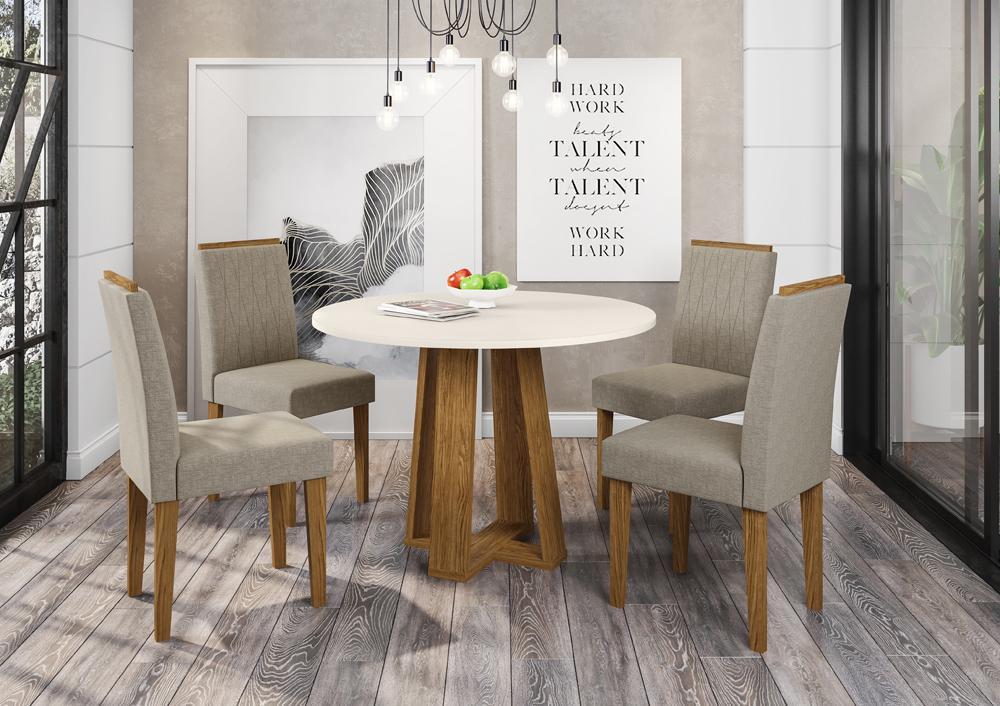 Mesa de Jantar Isabela 1,00m com 4 cadeiras Ana Ypê/OffWhite/Linho Marrom Claro  - FdECOR