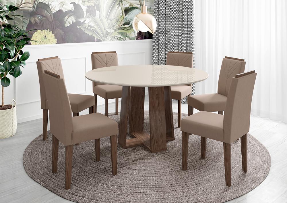 Mesa de Jantar Isabela 1,35m com 6 cadeiras Amanda Castanho/OffWhite/Marrom Rose - FdECOR