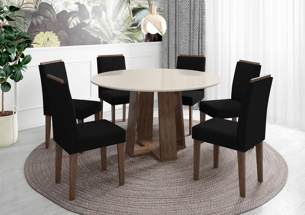 Mesa de Jantar Isabela 1,35m com 6 cadeiras Amanda Castanho/OffWhite/Veludo Preto - FdECOR