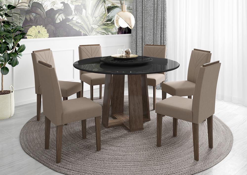 Mesa de Jantar Isabela 1,35m com 6 cadeiras Amanda e Tampo Giratório Castanho/Preto/Nero/Marrom Rose - FdECOR