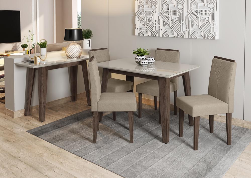 Mesa de Jantar Jade 1,20m com 4 cadeiras Amanda Castanho/OffWhite/Animalle Marrom Claro - FdECOR