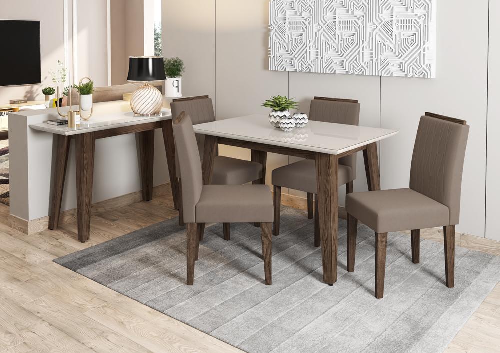 Mesa de Jantar Jade 1,20m com 4 cadeiras Ana Castanho/OffWhite/Marrom Rose - FdECOR