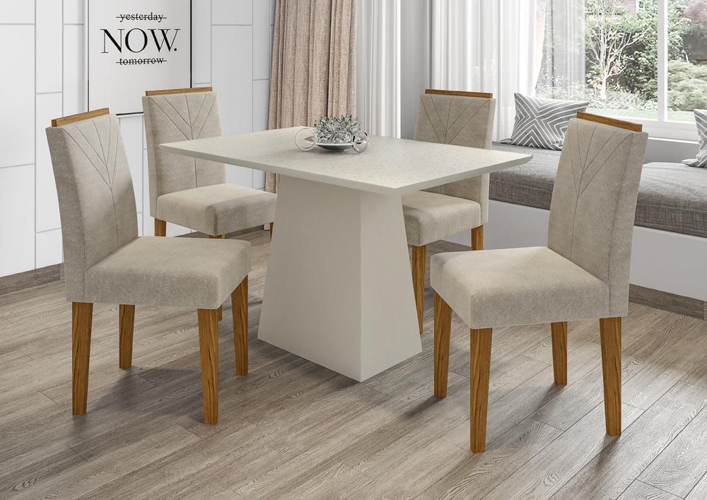 Mesa de Jantar Jasmin 1,20m com 4 cadeiras Amanda OffWhite/Ypê/Animalle Marrom Claro - FdECOR