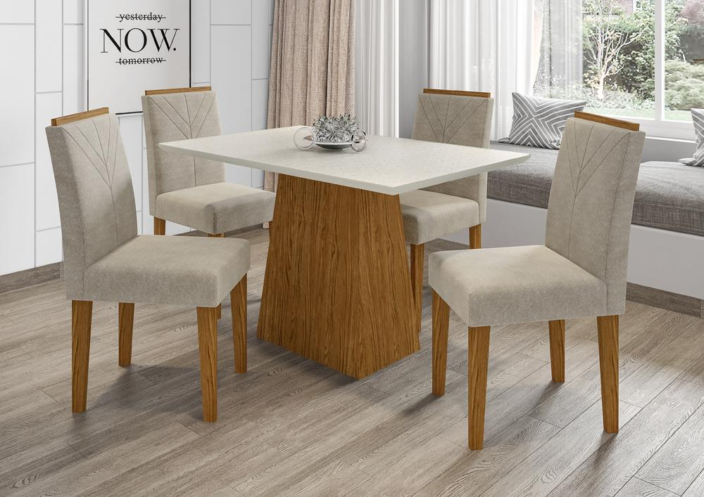 Mesa de Jantar Jasmin 1,20m com 4 cadeiras Amanda Ypê/OffWhite/Animalle Marrom Claro - FdECOR