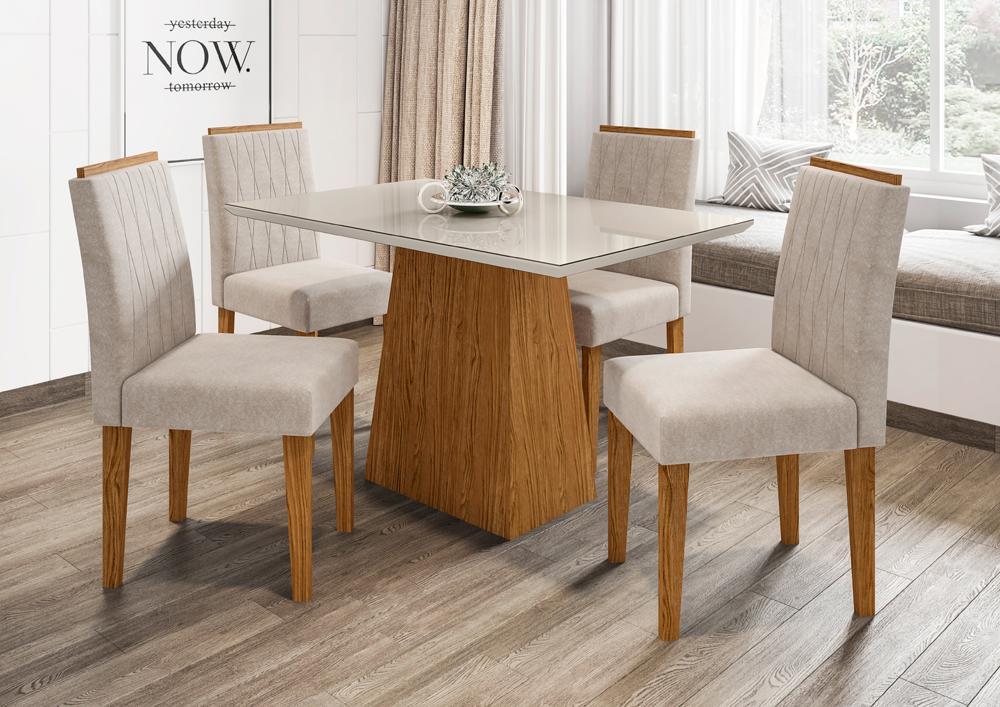 Mesa de Jantar Jasmin 1,20m com 4 cadeiras Ana Ypê/OffWhite/Animalle Bege - FdECOR
