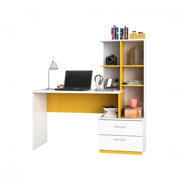 Mesa Para Computador Escrivaninha Poli Branco/Amarelo - Poliman