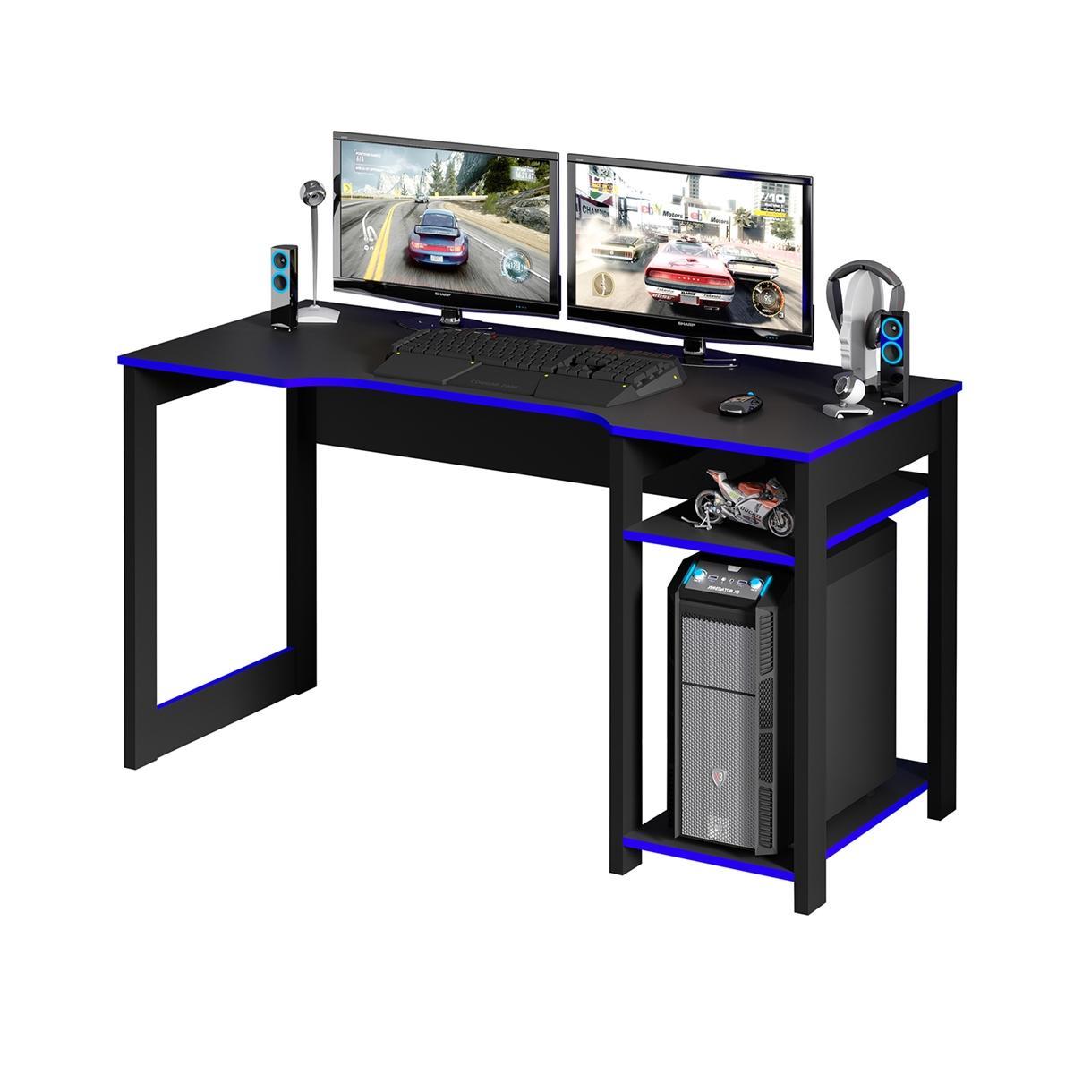 Mesa Para Computador Gamer Streamer 2 Prateleiras Preto/Azul - FdECOR