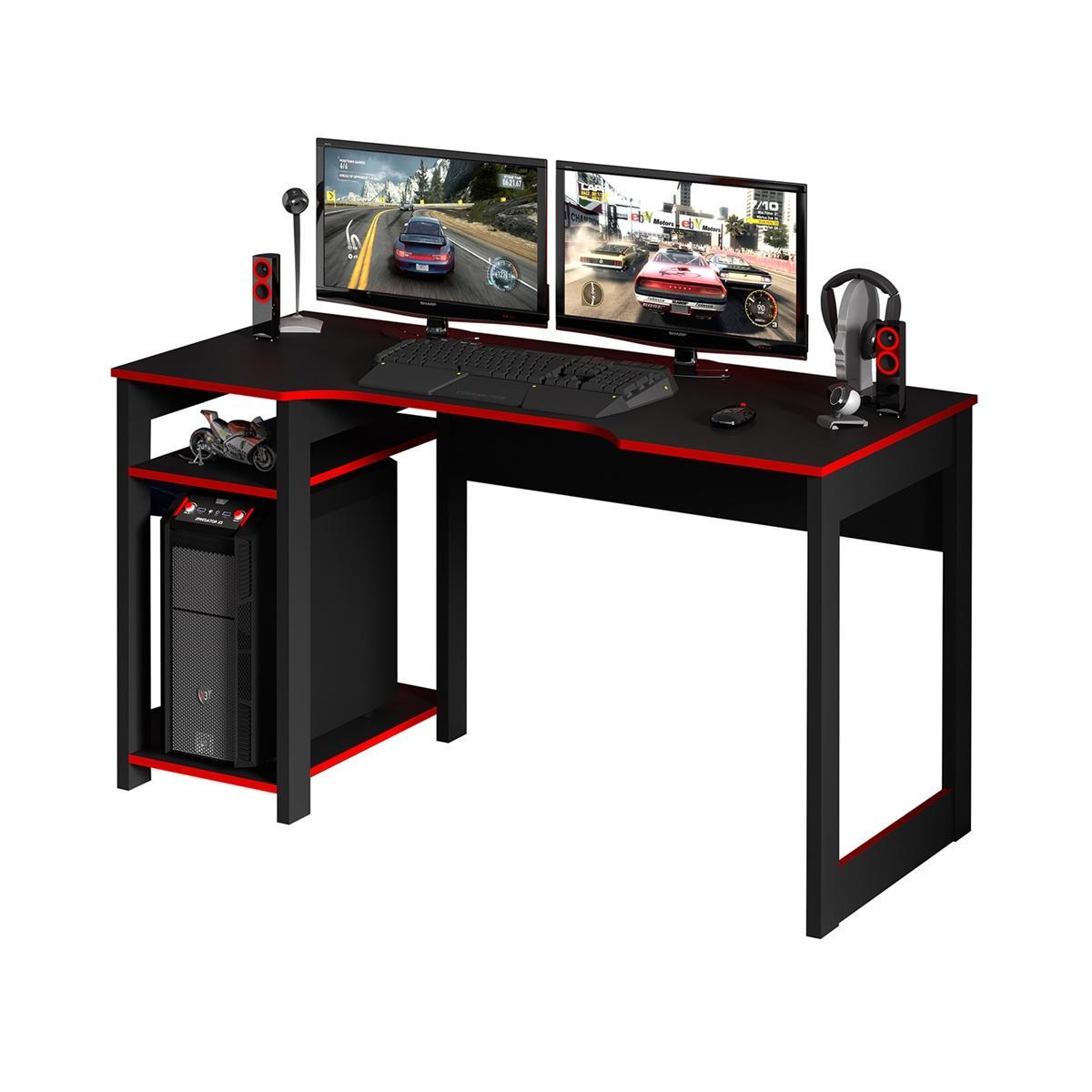 Mesa Para Computador Gamer Streamer 2 Prateleiras Preto/Vermelho - FdECOR