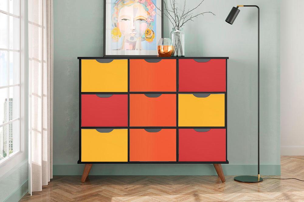Nicho Organizador Retro Preto com 9 Gavetas Coloridas 108 x 92,5cm - FdECOR
