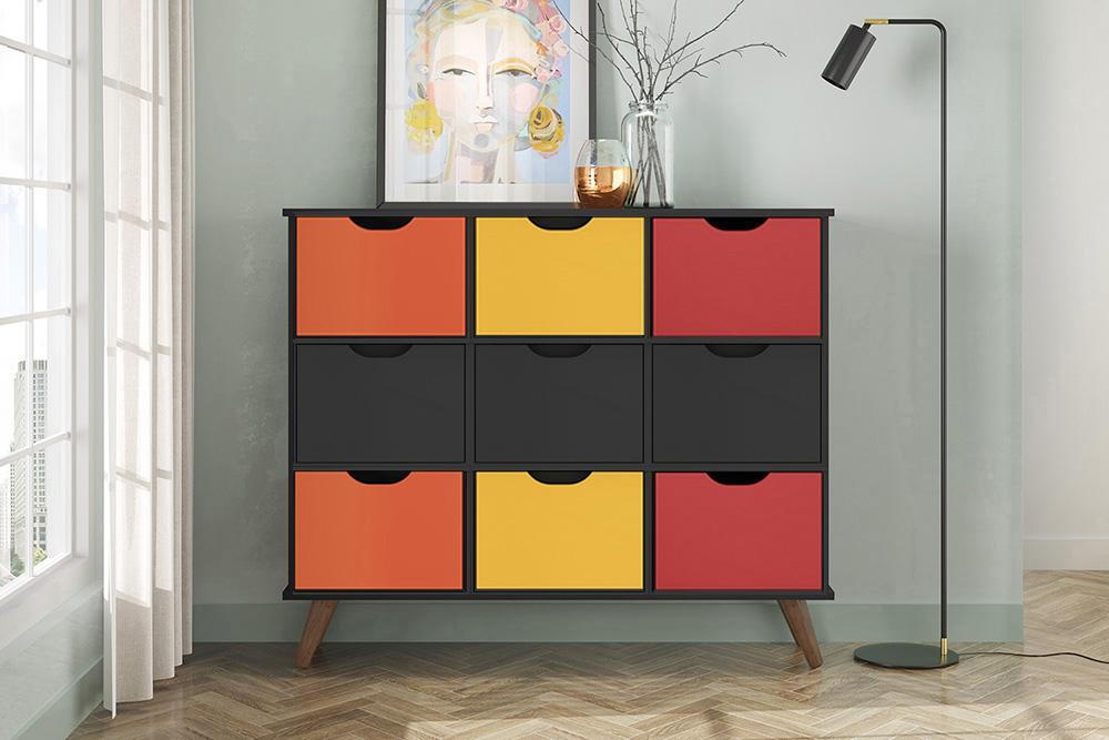 Nicho Organizador Retro Preto com 9 Gavetas Preto/Colorida 108 x 92,5cm - FdECOR