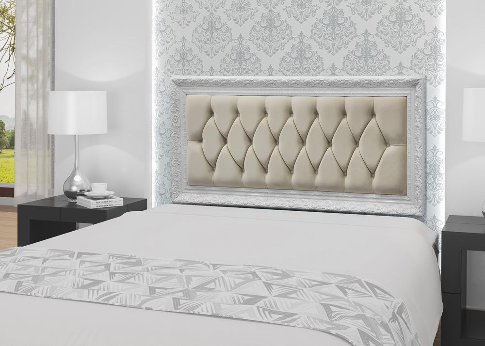 Painel Varsóvia Queen 1,60x70 Veludo Off White - Simbal