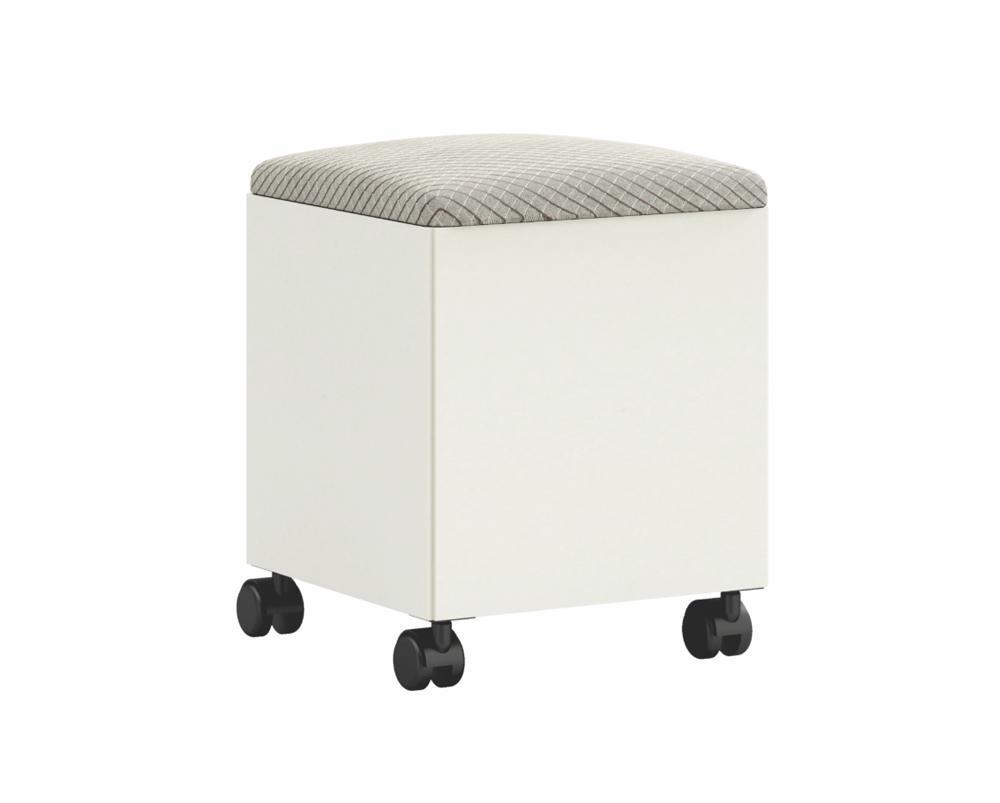 Puff Feito Em 100% Mdf Com Compartimento Interno Para Objetos CA31 Off White/Geometrico - Dalla Costa